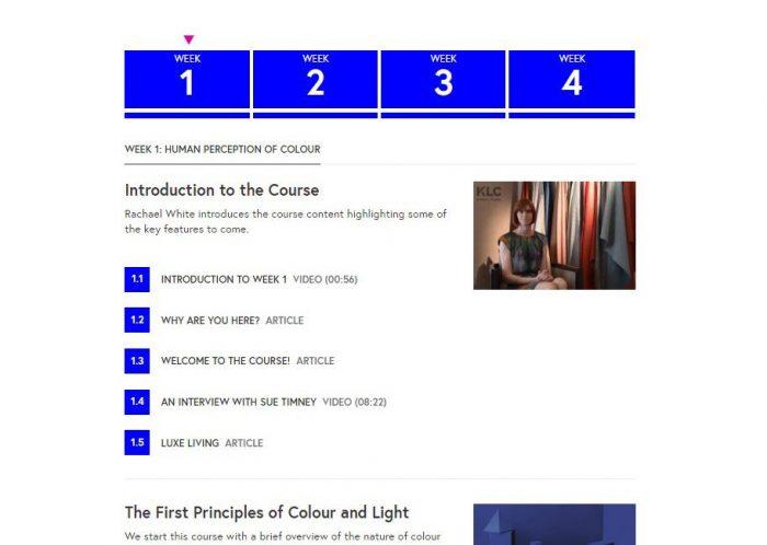 Пример структуры курса The Power of Colour by KLC School of Design на сайте FutureLearn.com