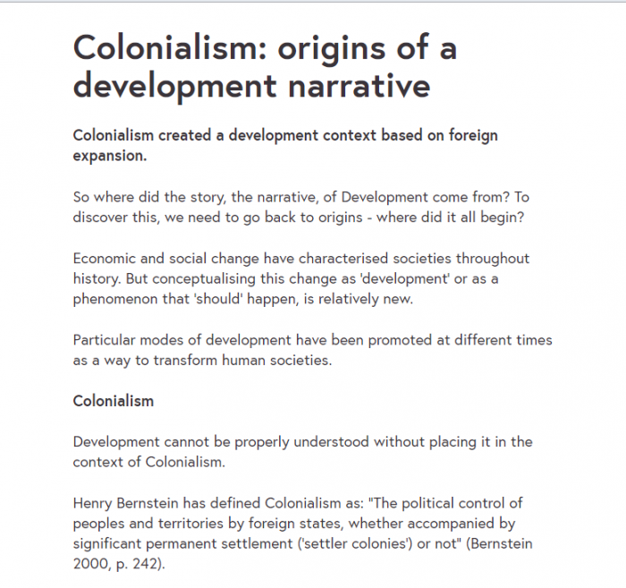 Пример текстового урока из курса Gender and Development by Deakin University на сайте FutureLearn.com