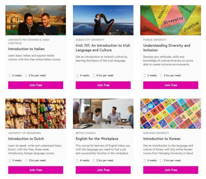 Пример языковых курсов на сайте FutureLearn.com