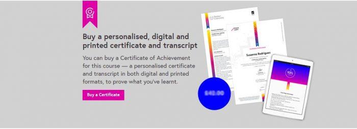 Пример сертификата на сайте FutureLearn.com