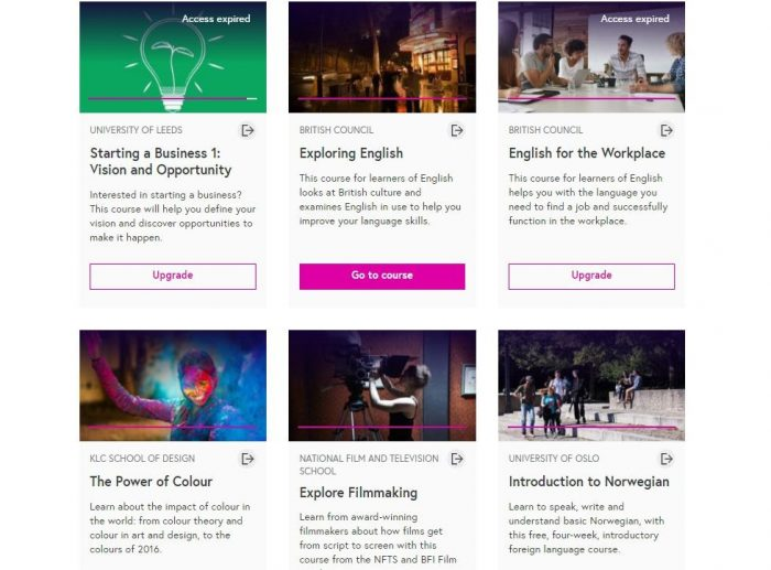 Пример курсов на сайте FutureLearn.com