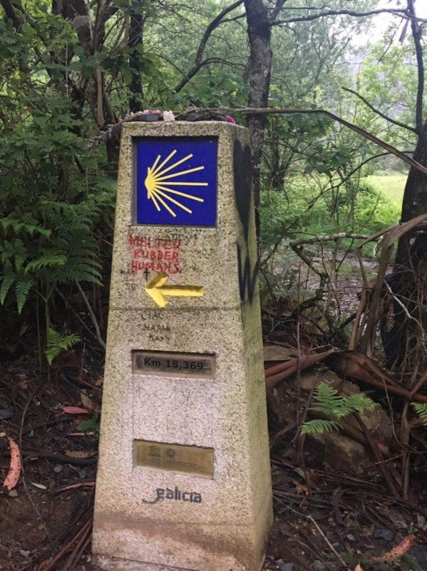 Желтые стрелки и ракушки - символы Камино де Сантьяго.