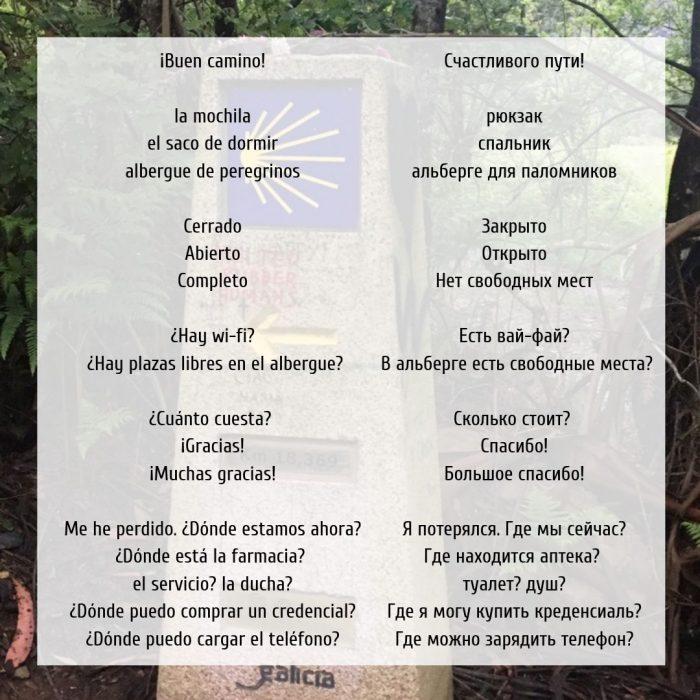 Русско-испанский разговорник для будущих пилигримов