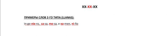 Примеры слов 2-го типа (Llanas)