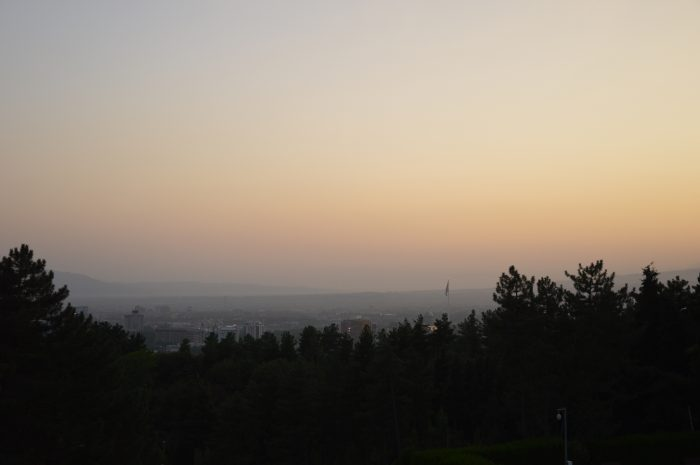 Вид на Душанбе на закате