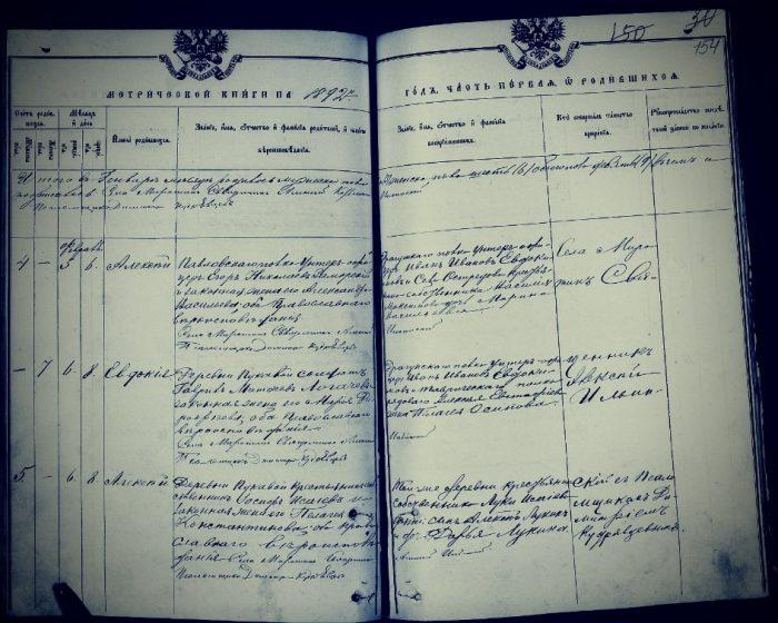 Фрагмент метрической книги прихода села Миротино Алексинского уезда Тульской губернии за 1892г.