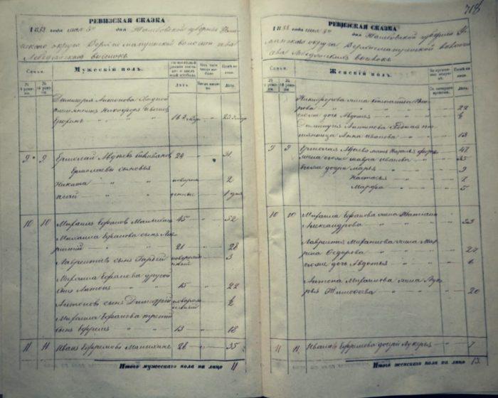 Фрагмент ревизской сказки села Лебедянских выселок